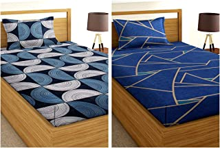VAS COLLECTIONS Single Bedsheet Combo Pack of 2 -180 TC Supersoft 100% Glace Cotton - Set of 2 bedsheet with 2 Pillow Cove...