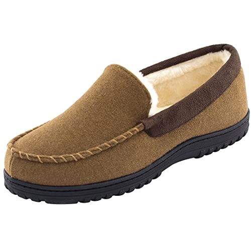 0bc5a9e7a9a2 Men s Wool Micro Suede Moccasin Slippers House Shoes Indoor Outdoor