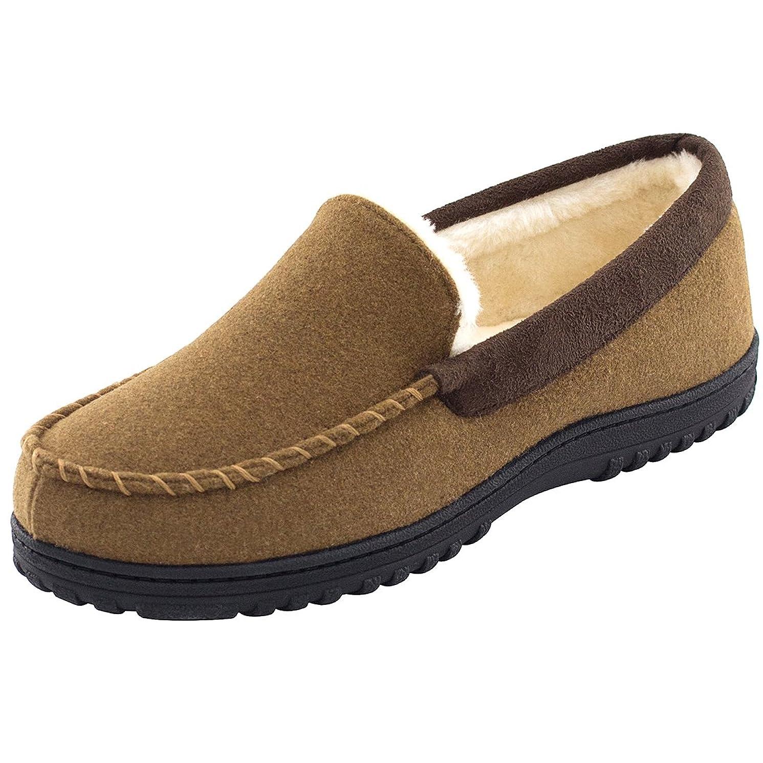 Men's Wool Micro Suede Moccasin Slippers House Shoes Indoor/Outdoor