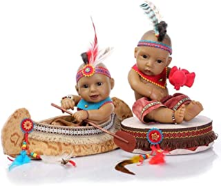 "Rebirth Doll Mini 11""Black Realistic Reborn Baby Dolls Kits Silicone Full Body Native American Indian Twins Lovely Lifelike"