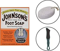 Johnson's Foot Soap Quick Dissolving Powder (Including Double Sided Foot File & Large Natural Lave Pumice Stone) Professional & DIY Foot Callus Remover Exfoliating Kit