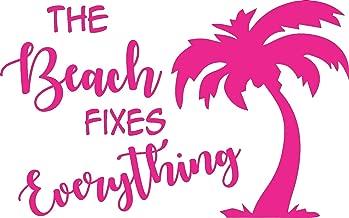 Pink Beach Fixes Everything Ocean Palm Tree - Die Cut Vinyl Window Decal/Sticker for Car/Truck