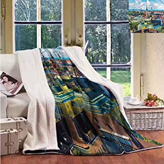 Sherpa Throw Blanket European Scenic Summer of Old Town Upgraded Thick Lazy Blanket W59x47L