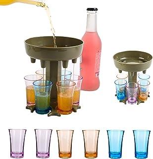 6 Shot Glass Dispenser Holder For Filling Liquids, Home Party Bar Shot Dispenser Cocktail Dispenser Carrier Liquor Drinkin...