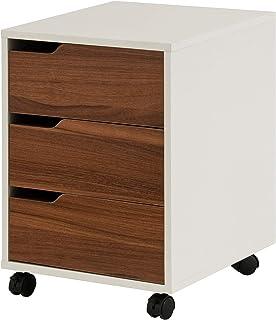 hjh OFFICE 674320 Caisson à roulettes avec tiroirs Organiser Noyer/Blanc
