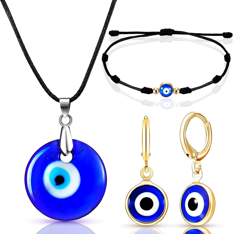 4 Pieces Evil Eye Necklace Bracelet Set Including 4 Blue Glass Leather Rope Evil Eye Necklace Evil Eye Pendant Eye Bracelet, Evil Eye Dangle Earring for Women Girls