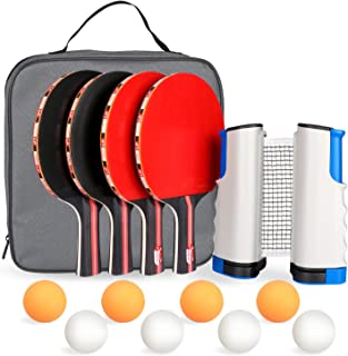 Fostoy Ping Pong Paddle,Ping Pong Paddles Set of 4 Ping Pong Paddles and 8 Table Tennis Balls, Retractable Net, Storage Bag, Perfect for Professional&Recreational Games - 2 or 4 Players