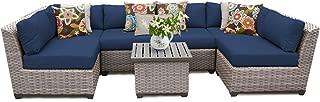 TK Classics FLORENCE-07c-NAVY 7 Piece Outdoor Wicker Patio Furniture Set, Navy