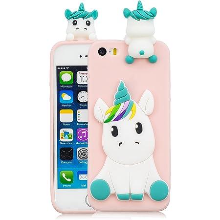 Coque iPhone 5S Silicone Coque iPhone Se avec Motif 3D Licorne Rose Housse pour iPhone 5 Apple Ultra Fine TPU Souple Étui Cute Mignon Slim Soft ...