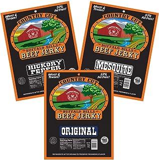 Buffalo Bills Country Cut 3oz Traditional Beef Jerky Sampler 3-Pack (moist & tender beef jerky)
