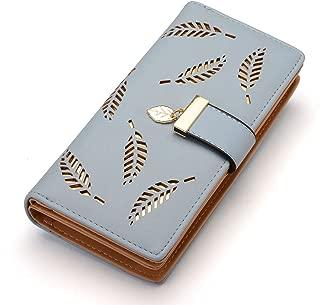 Women's Long Leaf Bifold Wallet Leather Card Holder Purse Clutch Wallet