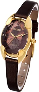 TIME100 Polyhedral Crystal Dial Ladies Watch, with Stainless Steel Cover, Stylish & Casual Leather Strap Watch for Women #W50010L