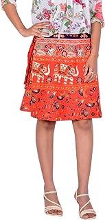 Rajvila Women's Cotton Printed Knee Length Regular Wrap Around Skirt (W20NT_0001)