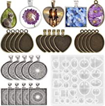 30 Pcs 5 Styles Pendant Trays Molds- Round & Square & Heart & Teardrop & Oval,1 Pcs Silicone Jewelry Casting Molds Jewelry Silicone Mold for Jewelry Making DIY Craft