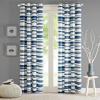 Intelligent Design ID40-564 Sadie Cotton Stripe Printed Curtain 50x63 Blue, 50 x 63