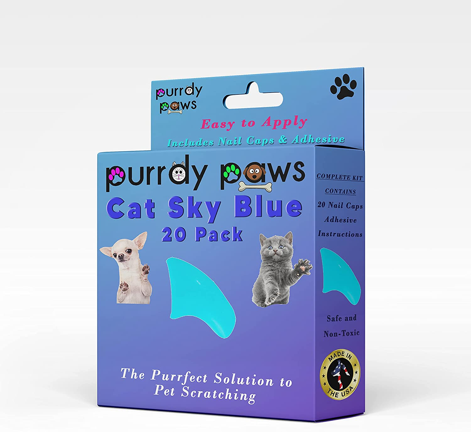 Purrdy Paws Soft New life Nail Caps for Sky Discount mail order Blue Claws Cat