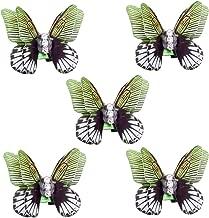 RechicGu Pack 5Pcs Butterfly Crystal Rasta Mambo Bead Dreadlocks Dread Locs Braid Hair Dress Clip Pin