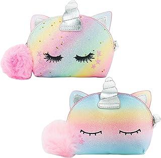 SOTOGO 2 Pieces Little Girls Crossbody Purses Toddler Mini Cute Princess Handbags Shoulder Messenger Bag Unicorn Purses