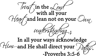 1 X Trust in the lord with all your heart and lean not unto your own understanding proverbs 3:5-6 Vinyl wall lettering stickers quotes and sayings home art decor decal