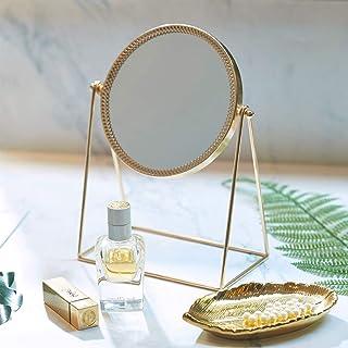 PuTwo Miroir Maquillage Simple Face Miroir de Table en Métal Miroir Vintage 360 Degrés de Rotation Miroir Rond Miroir Rota...