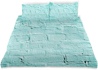 AXEDENRRT King 3 Pieces Soft Machine Washable with Zipper Ties Urban Building Artsy Picture Turquoise Mint Brick Old Wall Background Vibrant Tones Architecture Down Comforter Cover