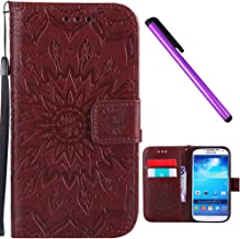 Samsung Galaxy S4 Case Cover EMAXELER Stylish Wallet 3D Embossed Kickstand Flip Sun flower Three dimensional Cards Slot Cash Pockets PU Leather For Samsung S4 I9500 Sun Brown