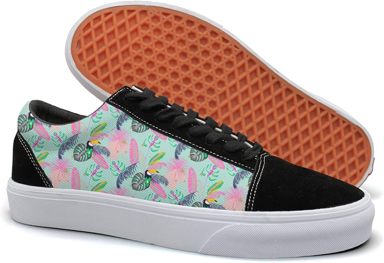 Hjkggd fgfds Casual Tropic Plant Leaves and Toucan Bird Beautiful Women Canvas Sneakers shoes