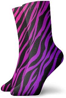 BEDKKJY, Calcetines Finos Púrpura Rosa Zebra Texture Designer Mujeres Bota Corta Media Decoración Calcetín para niños