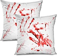 Ahawoso Set of 2 Throw Pillow Covers Square 18x18 Bloody Handprints People Scalable Man Graphic Murderer Find Signs Unique Identity Symbols Textures Zippered Pillowcases Home Decor Cushion Cases