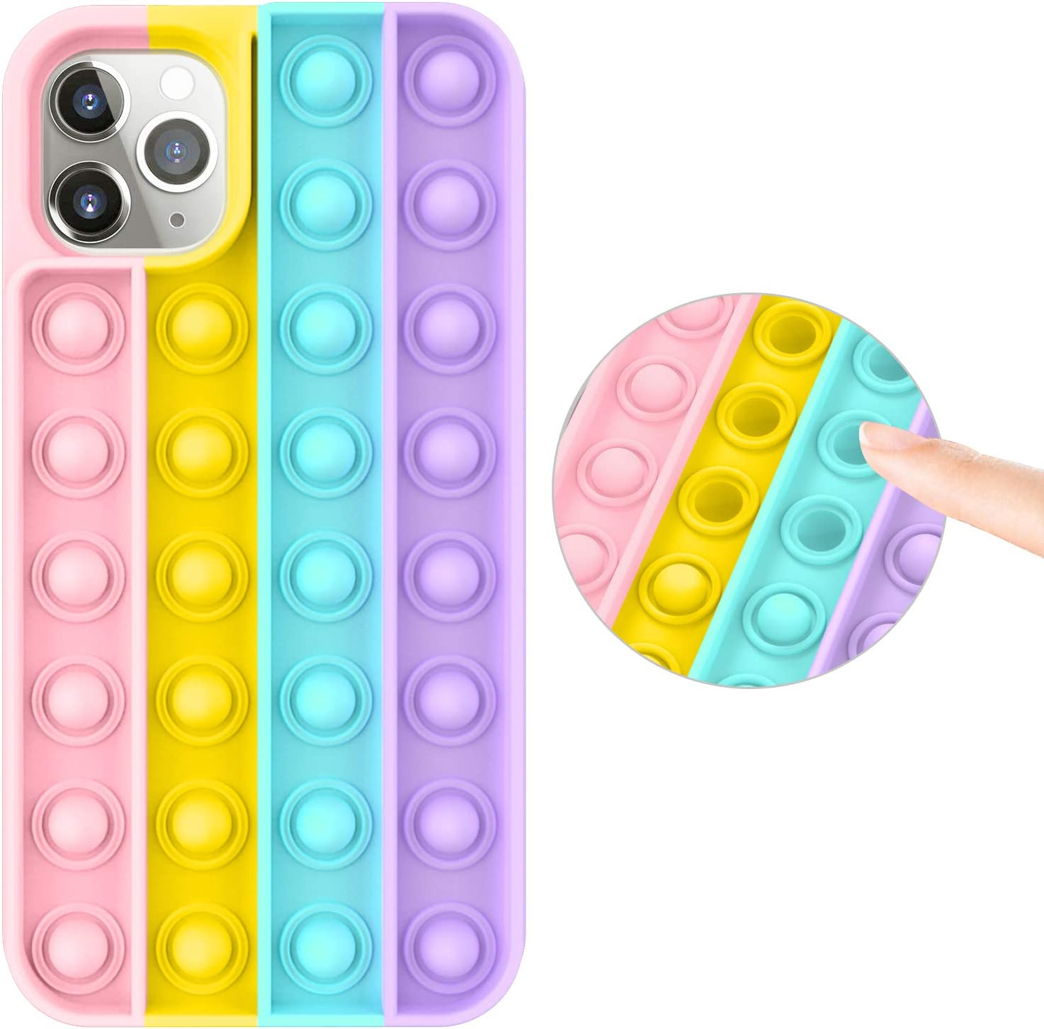 Fidget Toy Case for iPhone 11 Pro Max, Stress Relief Anti-Anxiety Press Bubble Pops Silicone Rubber Protective Phone Case for Women, Girls & Kids, Rainbow