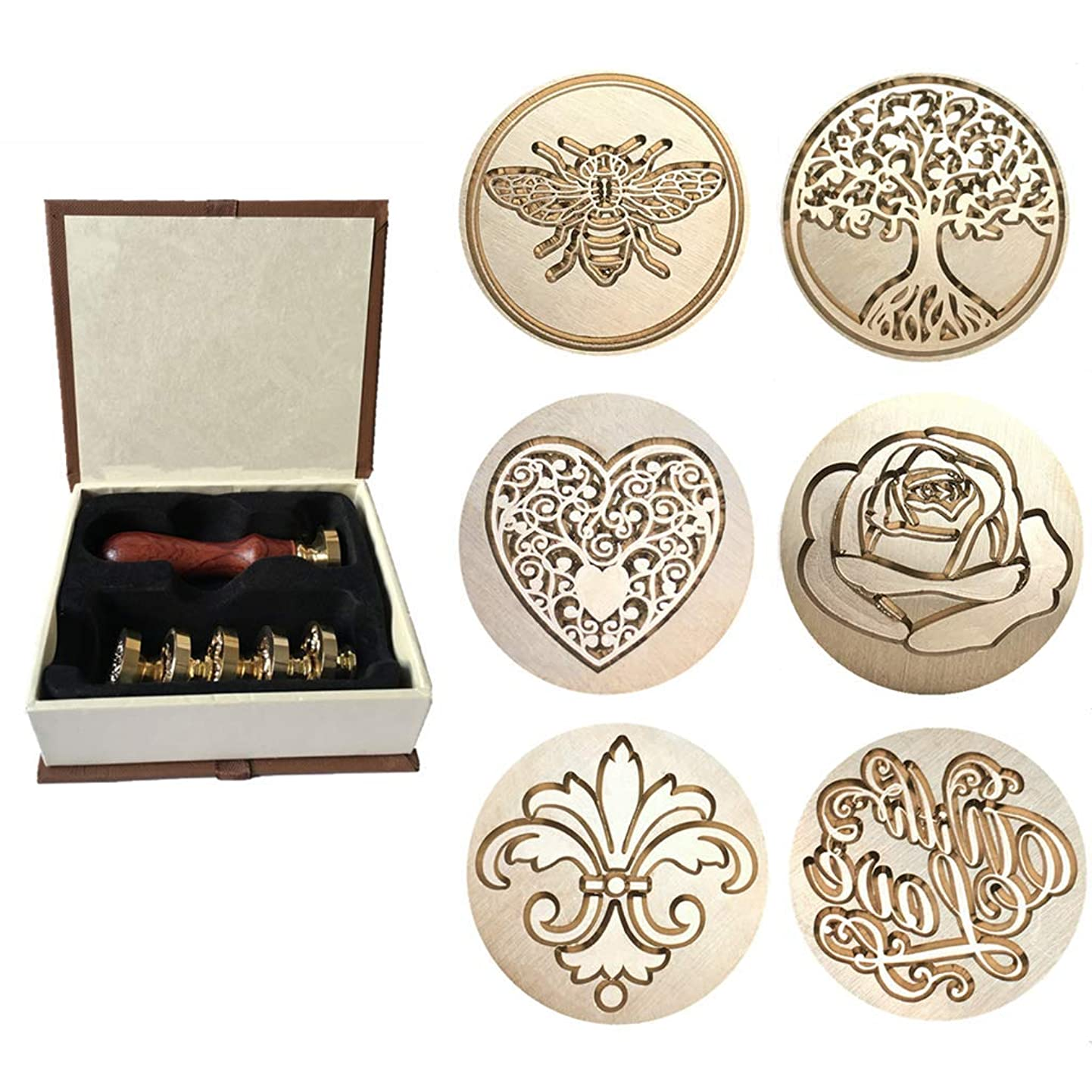 Wax Sealing Stamp, Moorlando 6PCS Sealing Wax Stamp Brass Heads + 1PC Wooden Handle with a Gift Box for Invitations Letters Envelopes Wax Sealing emuhgivnxqw3