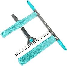 COM-FOUR® 4-czesciowy zestaw do czyszczenia okien z uchwytem teleskopowym, sciagaczka do okien, sciagaczem z gumowa warga ...