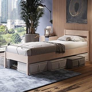 Träsäng 120 x 200 cm med rullgaller Külli Scandi Style tillverkad av obehandlad hård FSC-björk massivt trä – över 700 kg –...