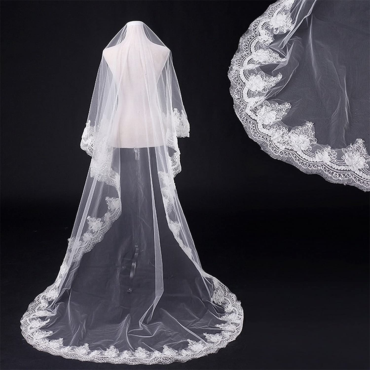 1 Tier Ivory Tulle Sheer Bridal Veils Sequin Applique Lace Edge Cathedral Wedding Accessories for Bride