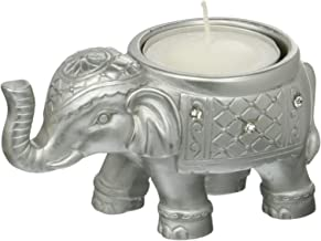 FASHIONCRAFT 8693 Good Luck Silver Indian Elephant Candle Holder, Gray