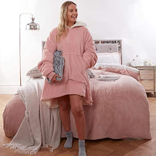 Sienna Hoodie Blanket Ultra Soft Sherpa Fleece Warm Cosy Comfy Oversized Wearable Giant Sweatshirt Throw for Women Gi...