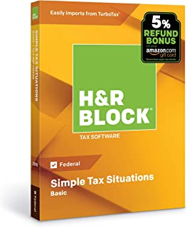 [OLD VERSION] H&R Block Tax Software Basic 2018 with 5% Refund Bonus Offer [Amazon Exclusive] [PC/Mac Disc]