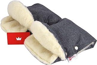 BABYLUX MUFF Handmuff PLÜSCH/WOLLE Handwärmer für Kinderwagen Buggy Handschuh 2 Stück 55. Lein  Lammwolle