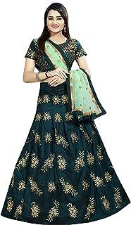 ethnicset Women's Embroidered Silk Semi-Stitched Lehenga Choli (Dark Green, Free Size)