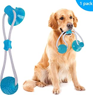 Feeke Pet Molar Bite Toy, Multifunction Interactive Ropes Toys, Self-Playing Rubber Chew Ball Toy with Suction Cup, Teeth Cleaning Tool for Dogs Cats (Green)