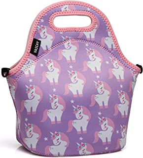 VASCHY Lunch Box Bag for Girls, Neoprene Insulated Lunch Tote with Detachable Adjustable Shoulder Strap in Pink Unicorn