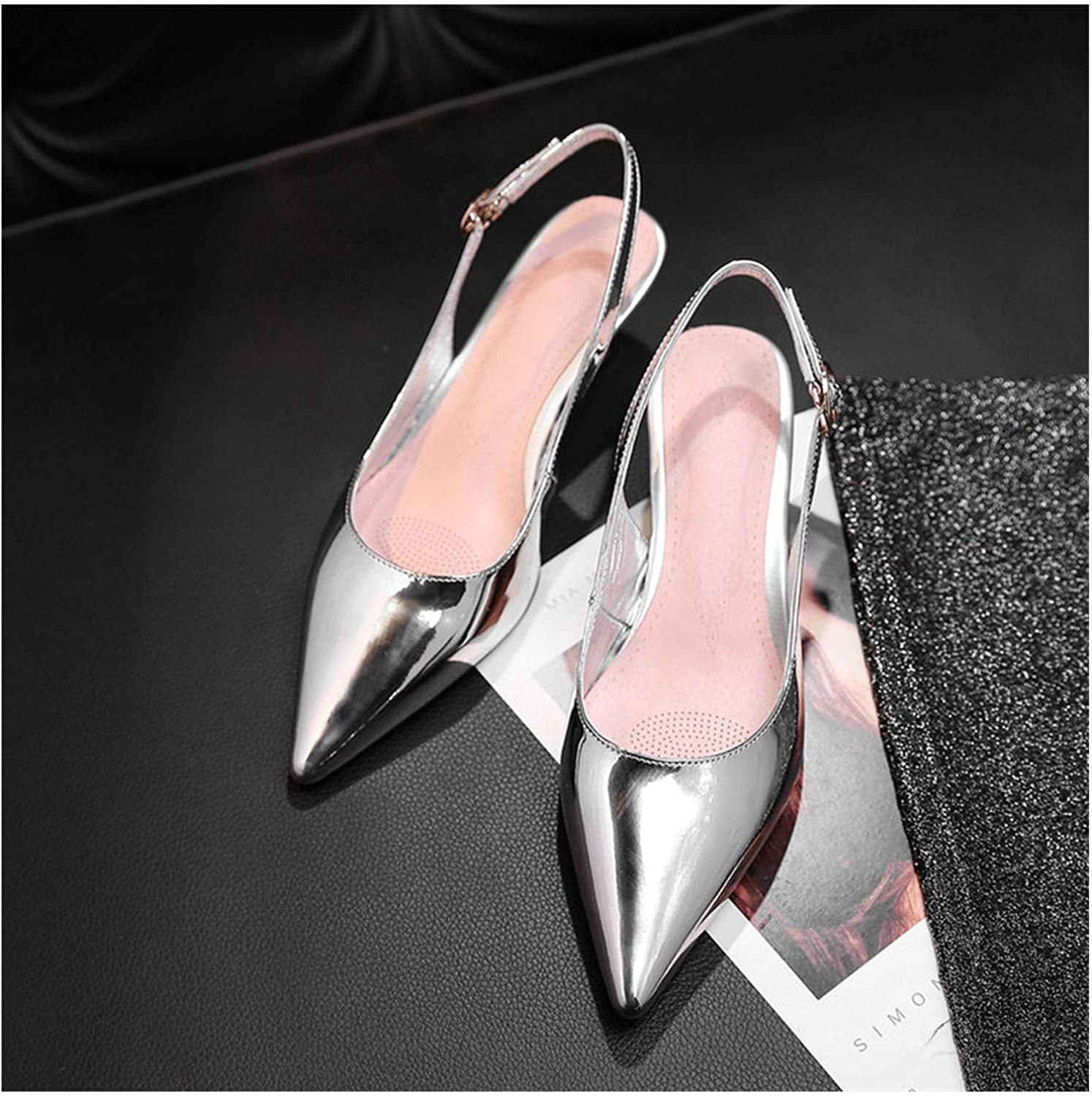 Longbao Fashion Wedding Pumps for Leather Solid Buckle Strap Elegant High Heels Sexy with