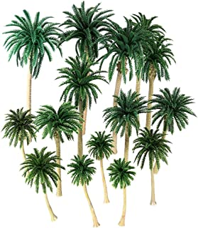 ISKYBOB 20 Pieces Model Coconut Trees Realistic Palm Miniature Plant Tropical Diorama Models DIY Scenery Landscape, 5 Sizes