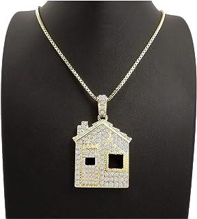 6a1e8d3f7bf300 Shiny Jewelers USA Mens ICED Out Offset Trap House Hip HOP Pendant Box,  Rope Cuban