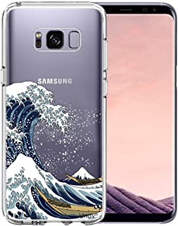Unov Case Compatible with Galaxy S8 Clear with Design Soft TPU Shock Absorption Slim Embossed Pattern Protective Back Cover (Great Wave)