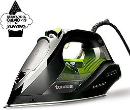 Taurus Geyser Eco 3000 - Plancha de vapor 3000W, elimina el 99,9999% de virus y bacterias, 200 g/min, punta de precisión, suela anodizada, regulador de vapor y temperatura, antical recargable