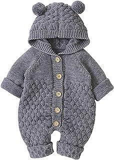 Taotigzu Baby-Kleidung für Neugeborene, Winter, Body mit Kapuze, für Jungen und Mädchen, Strampler aus Baumwolle, gestrickt, mit Mütze, 3 – 24 Monate