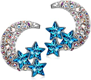 ✦ Celestine ✦ Women Christmas Earrings Gifts Crescent Moon And Stars Clip On Fashion Studs Earrings for Women with Bermuda Blue Crystal from Swarovski Hypoallergenic