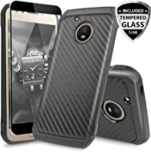 Motorola Moto E4 Case, with TJS [Full Coverage Tempered Glass Screen Protector] Dual Layer Hybrid Shock Absorbing Impact Resistant Rugged Case Cover Carbon Fiber Back Hard TPU Inner Layer