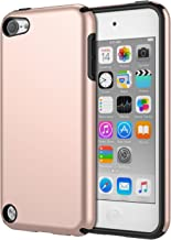 MoKo Case Fit iPod Touch 2019 Released iPod Touch 7/ iPod Touch 6/ iPod Touch 5, 2 in 1 Shock Absorbing TPU Bumper Ultra Slim Protective Case with Hard Back Cover - Rose Gold